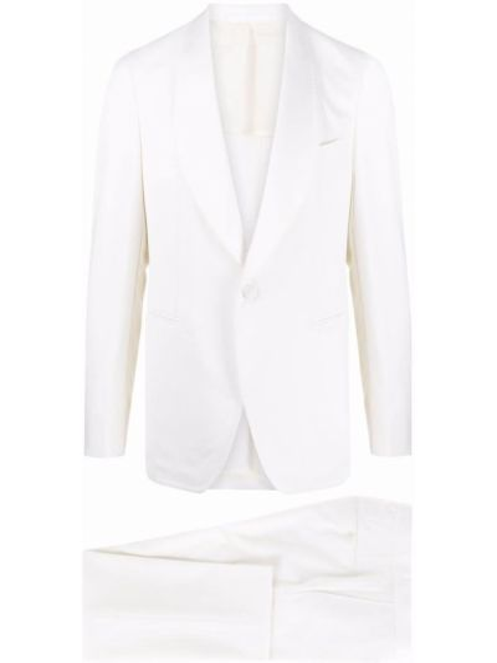 Biały garnitur wełniany z paskiem Tagliatore