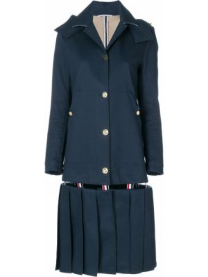 Плиссированное коралловое длинное пальто с воротником на кнопках Thom Browne