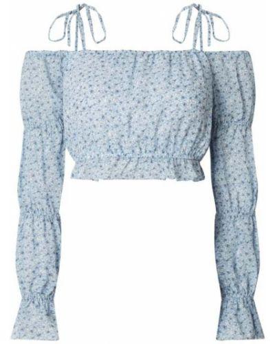 Niebieska bluzka z odkrytymi ramionami z falbanami Na-kd