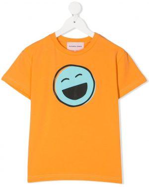 Хлопковая оранжевая футболка круглая с круглым вырезом Natasha Zinko Kids