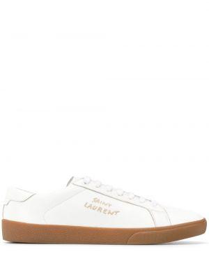 Buty sportowe skorzane - białe Saint Laurent