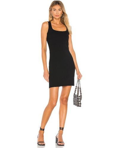 Ватное трикотажное черное платье мини Bobi