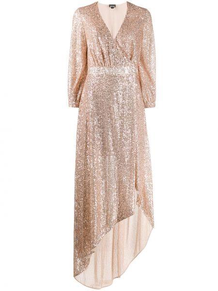 Платье мини с запахом с пайетками золотое Just Cavalli