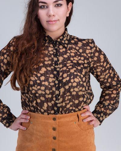 Свободная бежевая шифоновая блузка Grandua