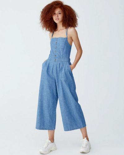 Голубой джинсовый комбинезон Pull&bear