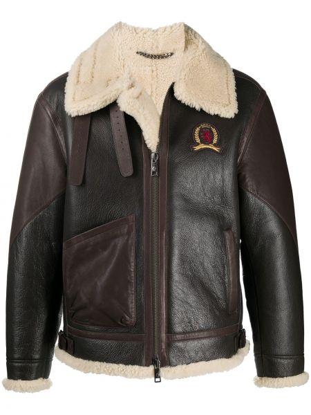 Коричневая длинная куртка из овчины с воротником с карманами Tommy Hilfiger