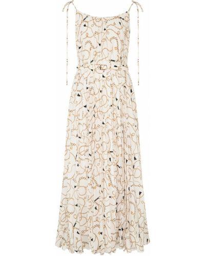 Плиссированное платье миди с поясом из вискозы Laroom