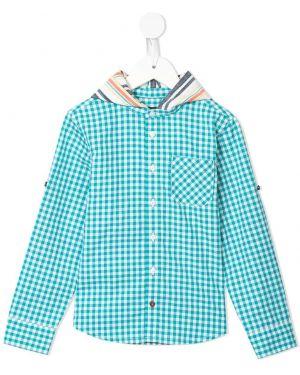 Синяя бархатная рубашка на пуговицах с карманами Velveteen