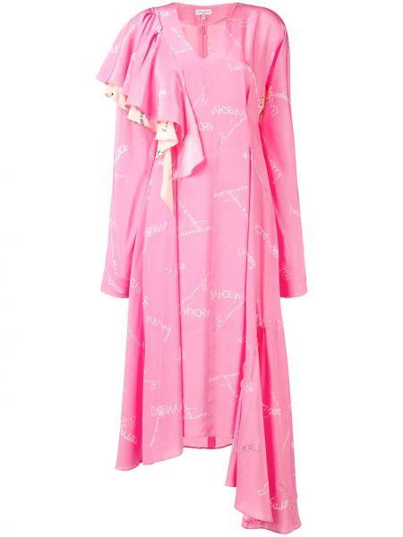 Шелковое платье макси - розовое Natasha Zinko