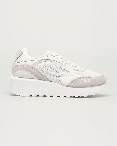 Białe sneakersy na platformie skorzane Fila