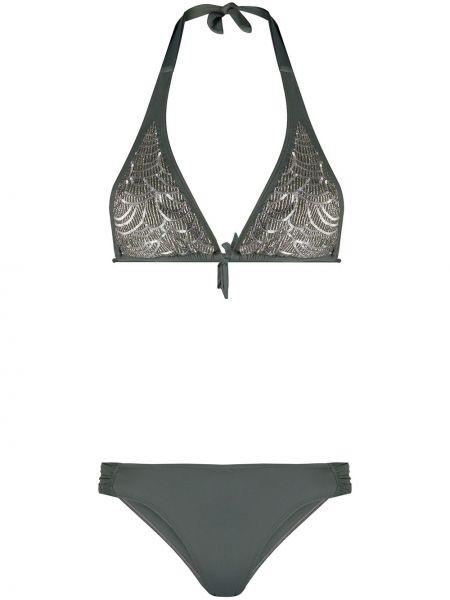 Пляжные серые бикини круглые с завязками Tara Matthews