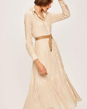 Ажурное бежевое платье миди с вырезом Answear