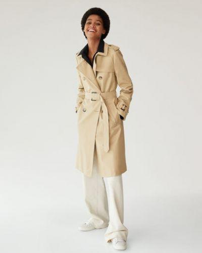 Бежевое пальто с воротником с поясом на пуговицах Mango