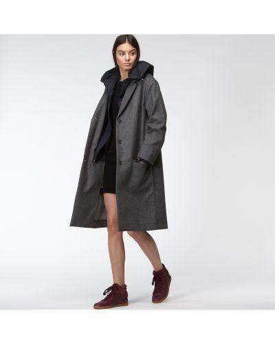 Куртка с капюшоном комбинированная серая Lacoste
