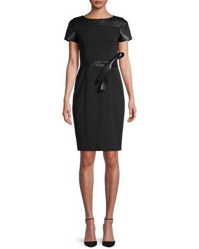 Кожаное черное платье-футляр с поясом Calvin Klein