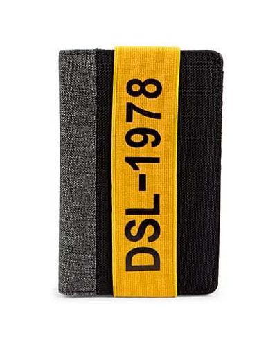 Желтый кожаный кошелек с карманами Diesel