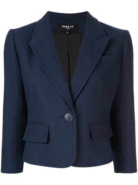 Приталенный синий пиджак с карманами Paule Ka