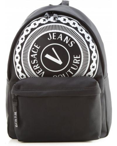 Czarny plecak z nylonu z printem Versace Jeans Couture