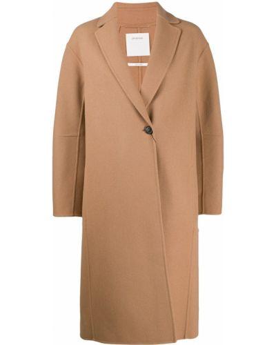 Коралловое длинное пальто с капюшоном на пуговицах Sportmax