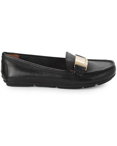 Черные кожаные лоферы на каблуке Calvin Klein