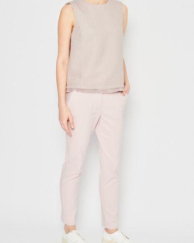 Прямой хлопковый розовый топ Stefanel