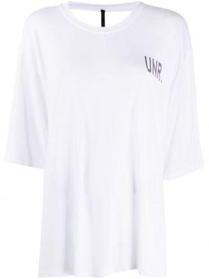 Белая футболка с открытой спиной из вискозы круглая Unravel Project