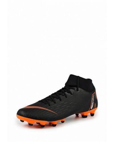 Черные кожаные бутсы Nike