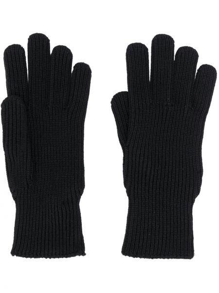 Wełniany czarny rękawiczki z łatami Moncler