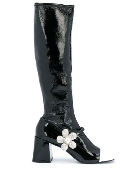 Czarny buty na pięcie z prawdziwej skóry plac w połowie kolana Miu Miu