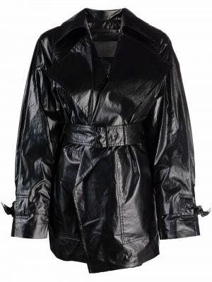 Черная кожаная куртка из полиуретана Christian Wijnants
