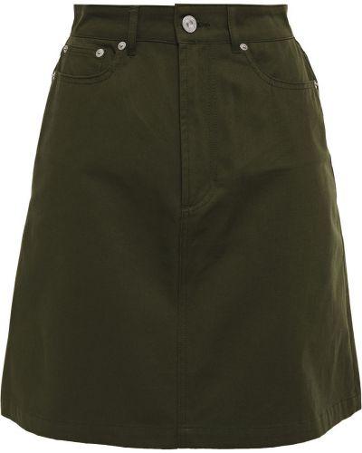 Zielona spódnica mini z paskiem bawełniana Etre Cecile