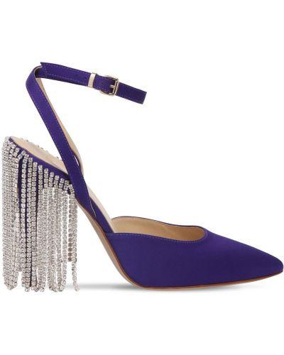 Фиолетовые кожаные туфли-лодочки на каблуке Area