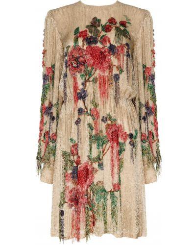 Платье мини с вышивкой с цветочным принтом Gucci