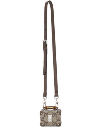 Серебряная кожаная ключница с подкладкой Gucci