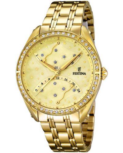 Кварцевые часы водонепроницаемые с камнями Festina