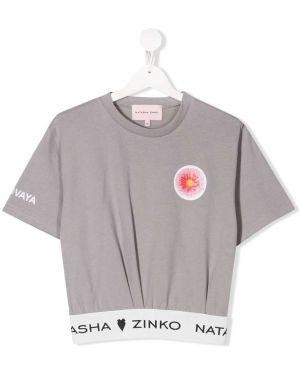 Серая футболка в рубчик круглая с круглым вырезом Natasha Zinko Kids