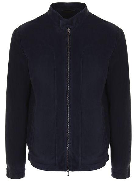 Классическая синяя кожаная куртка на молнии с карманами Loro Piana