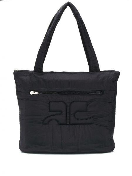 Czarna torebka pikowana Courreges