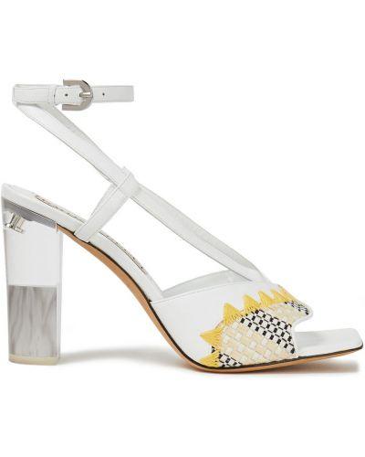 Białe sandały skorzane z haftem Emilio Pucci