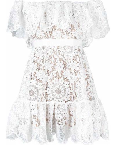 Кружевное белое платье с короткими рукавами Self-portrait