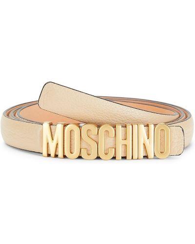 Кожаный ремень - бежевый Moschino