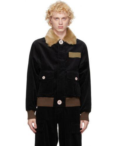 Czarna długa kurtka bawełniana z długimi rękawami Landlord