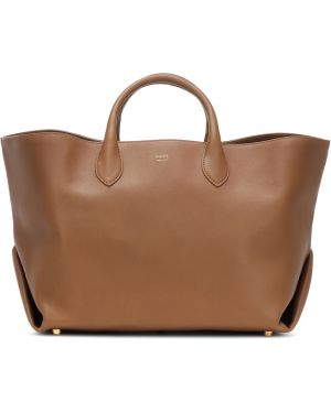 Коричневая сумка-тоут из натуральной кожи Khaite