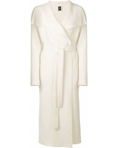 Прямое белое длинное пальто с капюшоном Eleventy