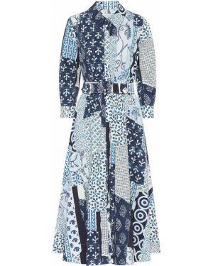 Платье миди в рубчик из поплина Oscar De La Renta
