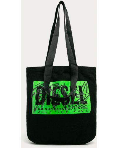 Czarna torba z krótkimi uchwytami bawełniana z printem Diesel