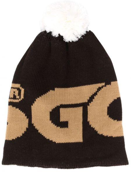 Шерстяная шапка бини - коричневая Gcds