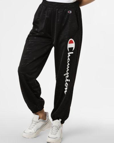 Czarne spodnie dresowe z printem Champion