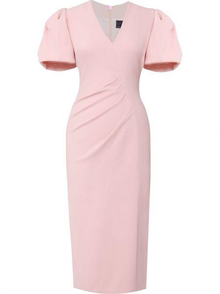 Прямое с рукавами розовое платье миди Ginger & Smart