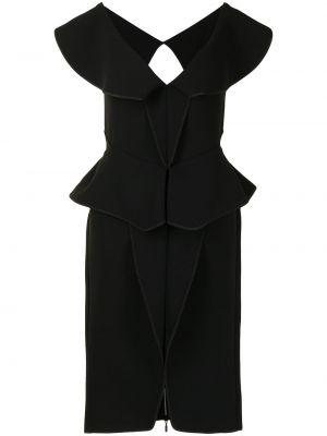 Satynowa czarna sukienka mini krótki rękaw Maticevski